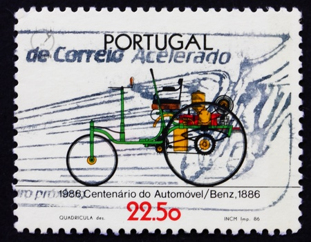 PORTUGAL - CIRCA 1986: a stamp printed in the Portugal shows Benz, 1886, Automobile Centenary, circa 1986