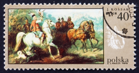 POLAND - CIRCA 1968: a stamp printed in the Poland shows Hunting with Falcon, by Juliusz Kossak, Hunt Painting, circa 1968 Stock Photo - 16286332