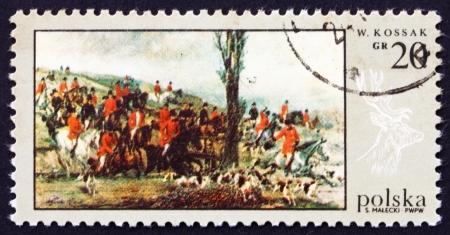 POLAND - CIRCA 1968: a stamp printed in the Poland shows Departure for the Hunt, by Wojciech Kossak, Hunt Painting, circa 1968 Stock Photo - 16286333