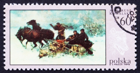 POLAND - CIRCA 1968: a stamp printed in the Poland shows Wolves' Raid, by A. Wierusz-Kowalski, Hunt Painting, circa 1968 Stock Photo - 16286330