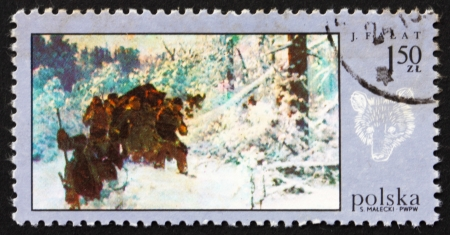 POLAND - CIRCA 1968: a stamp printed in the Poland shows Bear Hunt, by Julian Falat, Hunt Painting, circa 1968 Stock Photo - 16286329