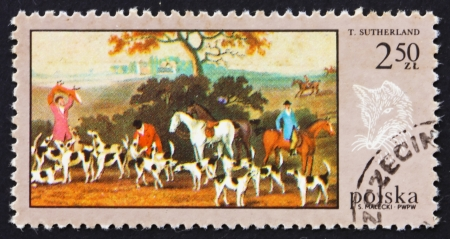 POLAND - CIRCA 1968: a stamp printed in the Poland shows Fox Hunt, by T. Sutherland, Hunt Painting, circa 1968 Stock Photo - 16286331