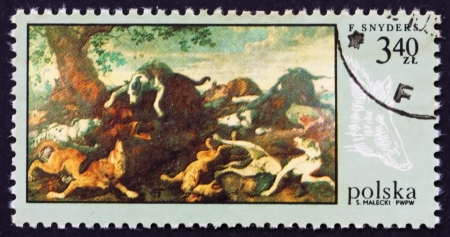 POLAND - CIRCA 1968: a stamp printed in the Poland shows Boar Hunt, by Frans Snyders, Hunt Painting, circa 1968 Stock Photo - 16286335