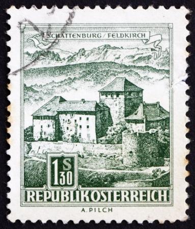 AUSTRIA - CIRCA 1967: a stamp printed in the Austria shows Schatten Castle, Feldkirch, Vorarlberg, circa 1967 Stock Photo - 16286591