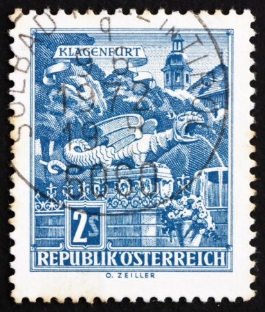 AUSTRIA - CIRCA 1968: a stamp printed in the Austria shows Dragon Fountain, Klagenfurt, circa 1968 Stock Photo - 16286599