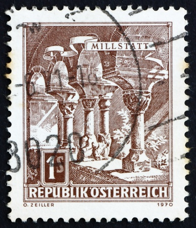 AUSTRIA - CIRCA 1970: a stamp printed in the Austria shows Romanesque Columns, Millstatt Abbey, circa 1970 Stock Photo - 16284395