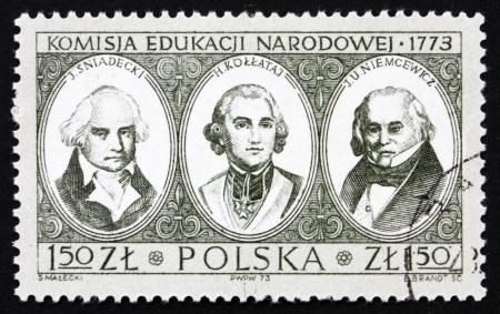 hugo: POLAND - CIRCA 1973: a stamp printed in the Poland shows J. Sniadecki, Hugo Kollataj and Julian Ursyn Niemcewicz, Bicentenary of National Education Commission, circa 1973
