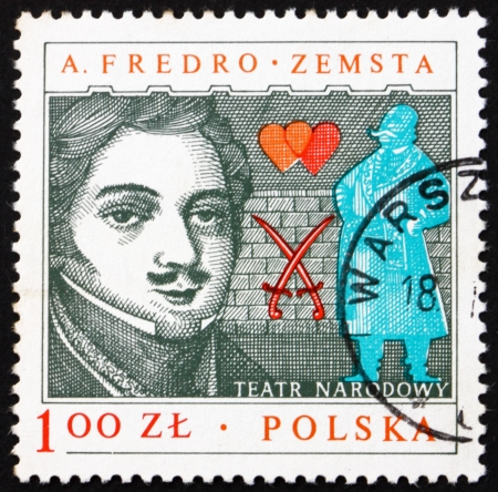 dramatist: POLAND - CIRCA 1978: a stamp printed in the Poland shows Aleksander Fredro, Polish Dramatist, circa 1978