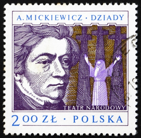dramatist: POLAND - CIRCA 1978: a stamp printed in the Poland shows Adam Mickiewicz, Polish Dramatist, circa 1978 Editorial