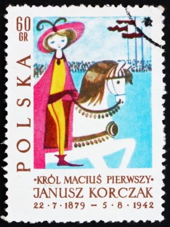POLAND - CIRCA 1962: a stamp printed in the Poland shows King on Horseback, Illustration from King Matthew Book, circa 1962 Stock Photo - 16286598