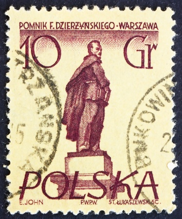 POLAND - CIRCA 1955: a stamp printed in the Poland shows Feliks E. Dzerzhinski, Warsaw Monument, Polish Revolutionary, circa 1955