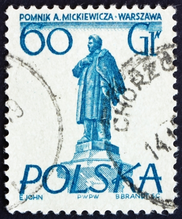 POLAND - CIRCA 1955: a stamp printed in the Poland shows Adam Mickiewicz, Warsaw Monument, Polish Poet, circa 1955 Stock Photo - 16286586
