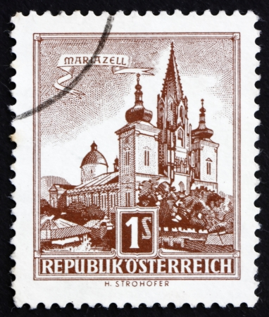 AUSTRIA - CIRCA 1957: a stamp printed in the Austria shows Mariazell, circa 1957 Stock Photo - 16286605