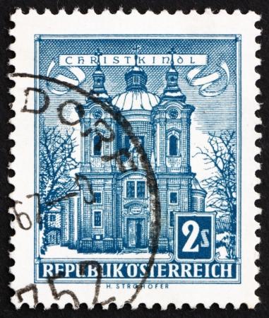 AUSTRIA - CIRCA 1958: a stamp printed in the Austria shows Christkindl Church, circa 1958 Stock Photo - 16286609