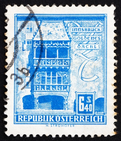 AUSTRIA - CIRCA 1960: a stamp printed in the Austria shows Golden Roof, Innsbruck, circa 1960 Stock Photo - 16286602
