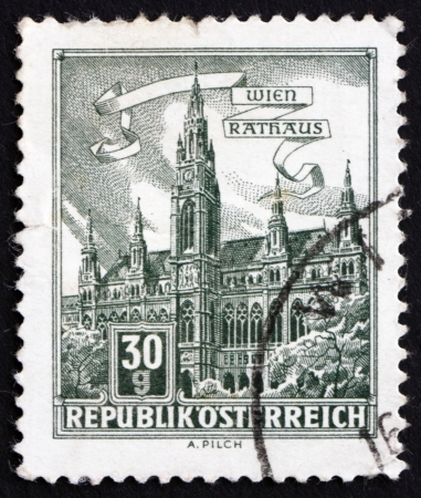 AUSTRIA - CIRCA 1962: a stamp printed in the Austria shows City Hall, Vienna, circa 1962 Stock Photo - 16286589