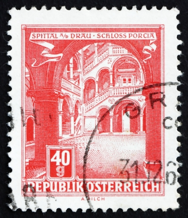 spittal: AUSTRIA - CIRCA 1962: a stamp printed in the Austria shows Porcia Castle, Spittal on the Drau, circa 1962