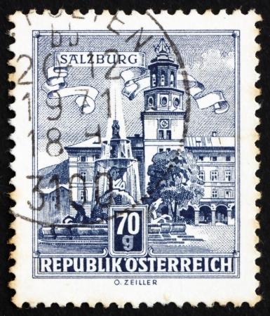 residenz: AUSTRIA - CIRCA 1962: a stamp printed in the Austria shows Residenz Fountain, Salzburg, circa 1962 Editorial