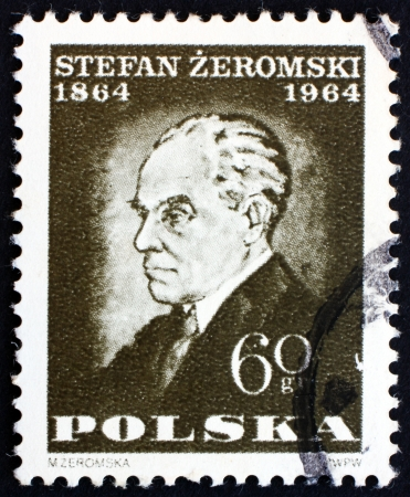 POLAND - CIRCA 1964: a stamp printed in the Poland shows Stefan Zeromski, Writer, by Monika Zeromska, circa 1964 Stock Photo - 16309744