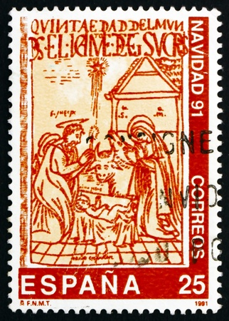 SPAIN - CIRCA 1991: a stamp printed in the Spain shows The Nativity, Illustration from 17th Century Book, Christmas, circa 1991