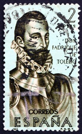 SPAIN - CIRCA 1965: a stamp printed in the Spain shows Don Fadrique de Toledo, Builders of the New World, circa 1965 Stock Photo - 16337344