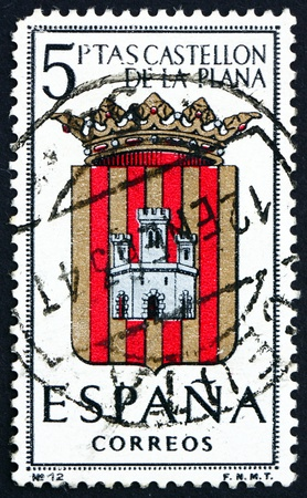 SPAIN - CIRCA 1962: a stamp printed in the Spain shows Arms of Castellon de la Plana, Provincial Arms, circa 1962 Stock Photo - 16337345