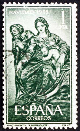 SPAIN - CIRCA 1963: a stamp printed in the Spain shows Holy Family, Sculpture by Alonso Berruguete, Christmas, circa 1963