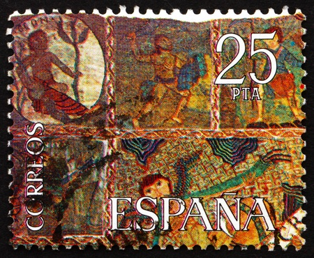 SPAIN - CIRCA 1980: a stamp printed in the Spain shows Part of The Creation, Tapestry, Gerona Cathedral, circa 1980 Stock Photo - 16337348