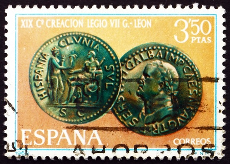 SPAIN - CIRCA 1968: a stamp printed in the Spain shows Emperor Galba Coin, 1900th Anniversary of the Founding of Leon by the Roman Legion VII Gemina, circa 1968 Stock Photo - 16337346