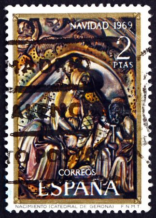 SPAIN - CIRCA 1969: a stamp printed in the Spain shows Nativity, Bas-relief from Altar of Cathedral of Gerona, Christmas, circa 1969