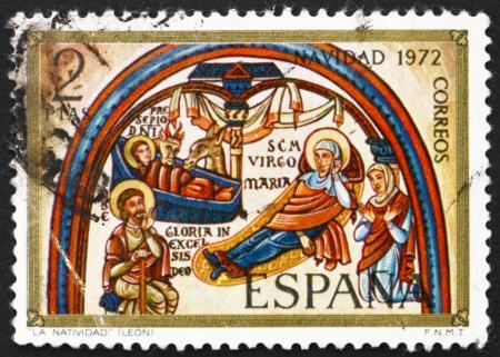 isidro: SPAIN - CIRCA 1972: a stamp printed in the Spain shows Annunciation, Romanesque Mural in the Collegiate Basilica of San Isidro, Leon, Fresco, Christmas, circa 1972