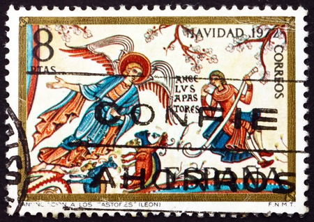 SPAIN - CIRCA 1972: a stamp printed in the Spain shows Angel and Shepherds, Romanesque Mural in the Collegiate Basilica of San Isidro, Leon, Fresco, Christmas, circa 1972