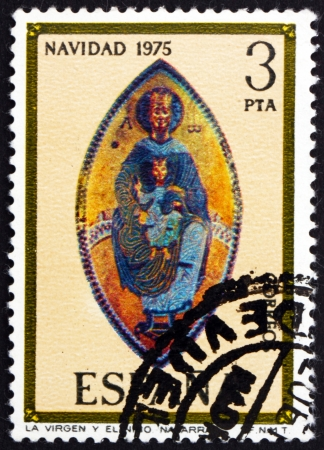 SPAIN - CIRCA 1975: a stamp printed in the Spain shows Madonna, Mosaic, Navarra Cathedral, Christmas, circa 1975 Stock Photo - 16337333