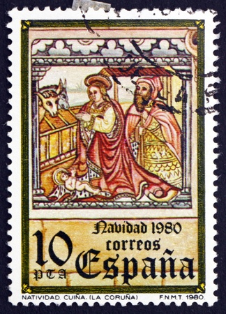 postage stamp: SPAIN - CIRCA 1980: a stamp printed in the Spain shows Holy Family, Church of Santa Maria, Cuina, Christmas, circa 1980