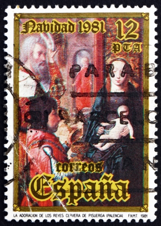SPAIN - CIRCA 1981: a stamp printed in the Spain shows Adoration of the Kings, Cervera de Pisuerga, Palencia, Christmas, circa 1981