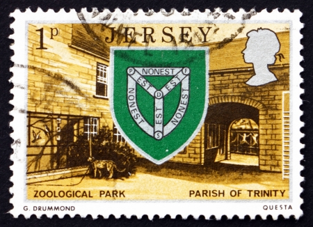 JERSEY - CIRCA 1976: a stamp printed in the Jersey shows Arms of Trinity and Zoo, circa 1976 Stock Photo - 16348239