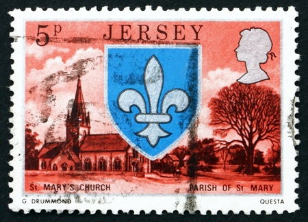 JERSEY - CIRCA 1976: a stamp printed in the Jersey shows Arms and Church of St. Mary, circa 1976 Stock Photo - 16348236