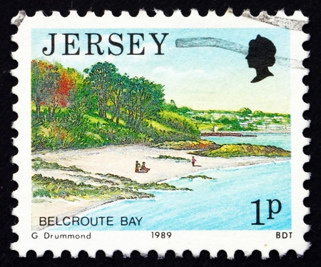 JERSEY - CIRCA 1989: a stamp printed in the Jersey shows Belcroute Bay, Scenic View, circa 1989 Stock Photo - 16348235