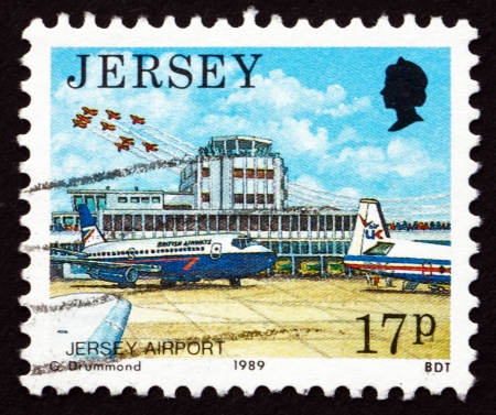 JERSEY - CIRCA 1989: a stamp printed in the Jersey shows Jersey Airport, circa 1989 Stock Photo - 16348234