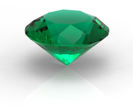 Green diamond emerald gemstone isolated on white with shadows photo