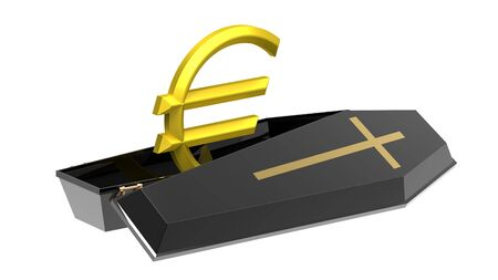 Euro in black coffin, isolated on white, 3d render, crisis in the Eurozone photo