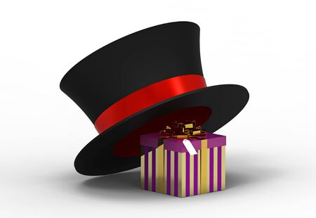 Gift box under hat on white, 3d render photo