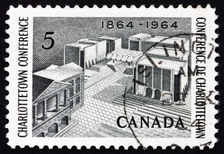 confederation: CANADA - CIRCA 1964: a stamp printed in the Canada shows Fathers of Confederation Memorial, Centenary of Charlottetown Conference, circa 1964