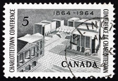 confederation: CANADA - CIRCA 1964: un timbro stampato in Canada mostra Padri della Confederazione Memorial, Centenario della Conferenza di Charlottetown, intorno al 1964