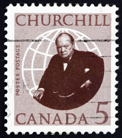winston: CANADA - CIRCA 1965: a stamp printed in the Canada shows Sir Winston Spencer Churchill, circa 1965 Editorial