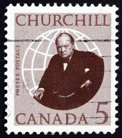 CANADA - CIRCA 1965: a stamp printed in the Canada shows Sir Winston Spencer Churchill, circa 1965 Stock Photo - 16746186