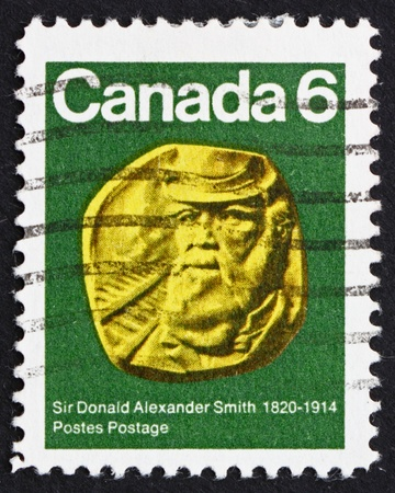 donald: CANADA - CIRCA 1970: a stamp printed in the Canada shows Sir Donald Alexander Smith, Railroad Builder and Canadian High Commissioner, circa 1970