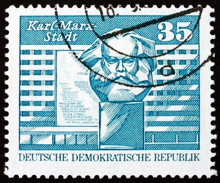 ddr: GDR - CIRCA 1973: a stamp printed in GDR shows Marx Monument, Karl-Marx-Stadt, Chemnitz, circa 1973