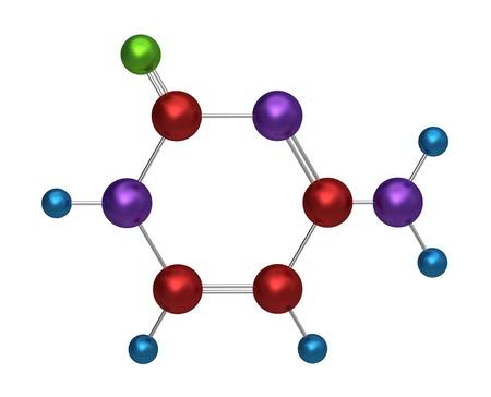 Mol�cula de componente citosina, clave en la formaci�n de ADN y mol�culas de ARN estable, modelo 3d Foto de archivo - 16678181