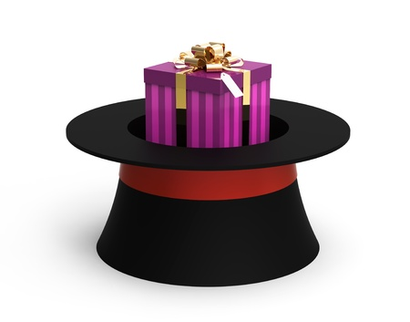 Gift box from hat on white, 3d render photo
